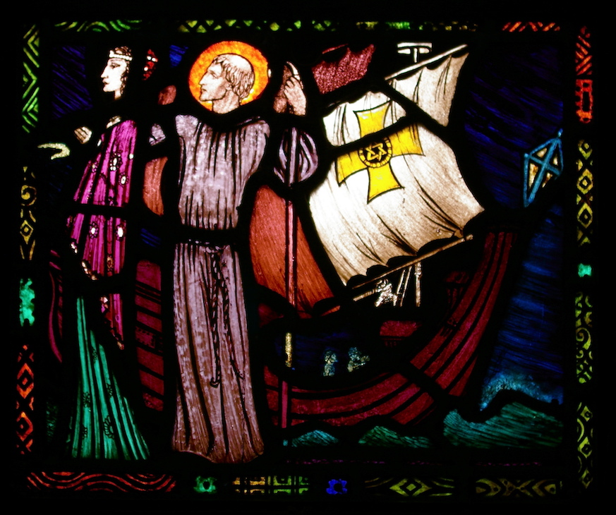 Carrickmacross St. Josephs Church Sts Macartan and Tigernach Window by Harry Clarke Lower Panel